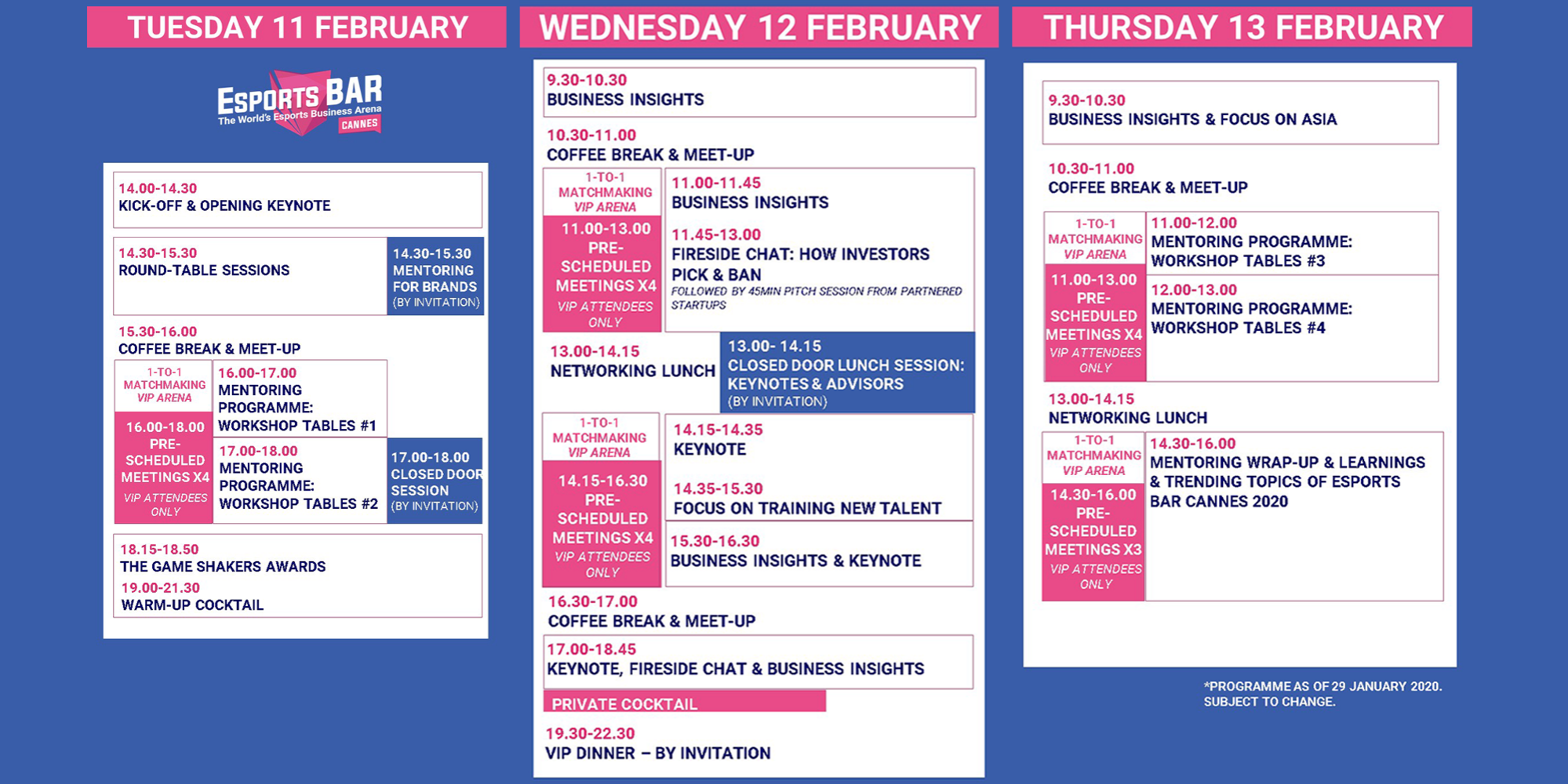 ESB Cannes at-a-glance programme